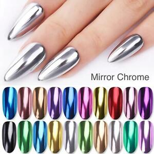 MIRROR CHROME NAIL POWDER COLOURS UNICORN ROSE GOLD BLUE PINK RED EFFECT PIGMENT