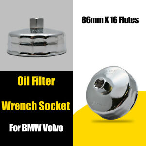 Oil Filter Wrench Cap Housing Tool Remover 16 Flutes 86mm Fit For Car BMW Volvo
