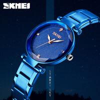 femmes skmei montre bracelet acier inoxydable quartz élégante montre étanche 66