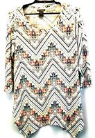 New Directions Tunic Top Blouse Size Large Long Sleeves Shark Bite Hem Geometric