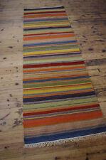 Beautiful Traditional Striped Rustic Cotton Wool Kilim Runner Rug 75 x 240cm