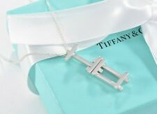 Tiffany & Co Silver Frank Gehry Axis Dangle Dangling Necklace +Pouch Modernist