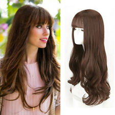 Long Wavy Synthetic Hair Topper Women Hairpiece with Bang Toupee Closure Us