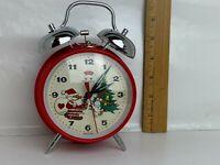 Vintage Five Rams Christmas Santa Bunny Rabbit Alarm Working Clock Bell Red