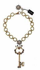 Dolce&Gabbana Gold Brass Crystal Sacred Crown Key Necklace
