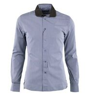 DOLCE & GABBANA SICILIA Striped Cotton Shirt w. Contrast Collar Khaki White 0372