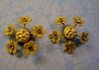 Yellow Enamel Daisy Flower Earrings Clear Rhinestones Atomic 1950's Vintage Clip