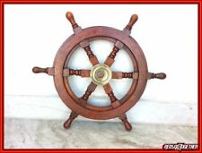"Nautical Ship Wheel 18"" Brass/Wood Captain Pirate Ships Decor Vintage Marine"