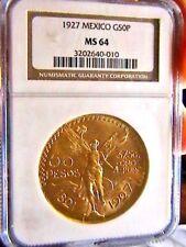 1927 MEXICO 50 PESOS 1.2 Oz. GOLD COIN NGC MS64
