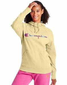 Champion Women Powerblend Fleece Hoodie Sweatshirt Watercolor Script Logo XS-2XL