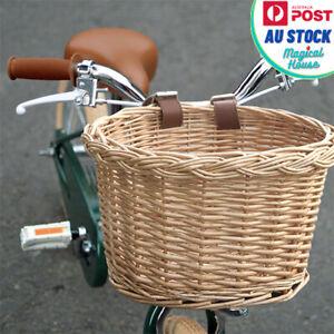 New Front Handlebar Bicycle Basket, Adjustable Detachable Wicker Woven Basket