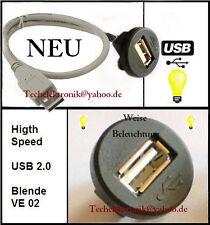 USB Einbaubuchse Schnittstelle BELEUCHTUNG 50cm passend für Mercedes C180 E200