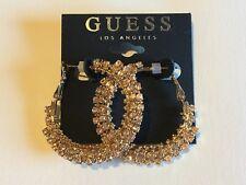 GUESS Earrings Women's NEW Gold & Rhinestone Large Bling Fashion Hoop Earrings