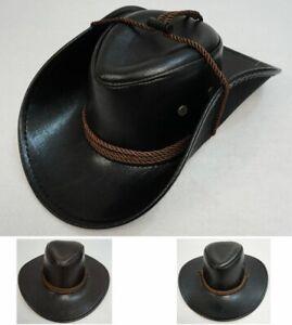 Faux Leather Cowboy Hat w/ Rope Brown Black Western Hat