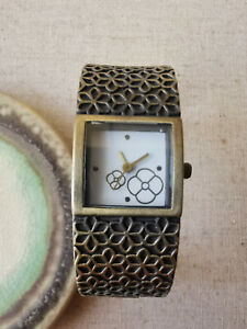 by Rose, ladies watch cuff bracelet antique gold tone