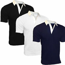 Rugby Shirt Mens 100% Cotton Plain Short Sleeve New Superb Quality