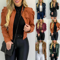 Women Coat PU Leather Puff Sleeve Ladies Casual Cropped Jacket Blazer Bomber Top