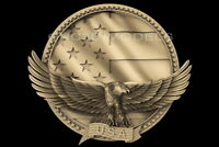3D STL Model for CNC Router Carving Artcam Aspire USA Flag America Eagle D628