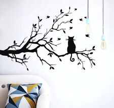 Tree Branch & Cat Wall Decal Removable Stickers Dining Room Bedroom Living Room