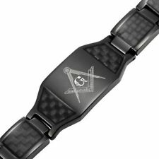 MasonicMan Mens Black Titanium Magnetic Masonic Bracelet Carbon Fiber Adjuster