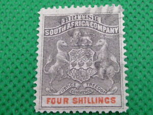 RHODESIA , 1892 - 1894 , 4/- STAMP            (S1565)