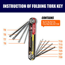 10 PC Tamper Proof Star Key Set Folding Locking Torx security screwdriver T6-T30