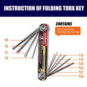 10 PC Tamper Proof Star Key Set Folding Locking Torx security screwdriver T6-T30