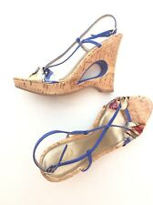 Womens QUPID Platform Sandals 8.5 Faux Cork FABRIC Keyhole Patent Shoes Heels