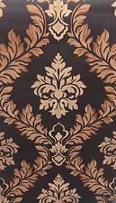 Exclusive Italian Silks Brown/Beige Damask Vinyl Wallpaper (IS11008)