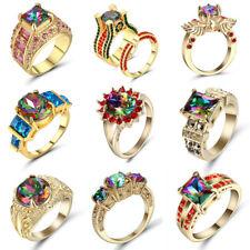 Hot Chic Women Gold Filled Rainbow Topaz Gemstone Wedding Ring Jewelry Size 8