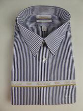 Roundtree & Yorke Gold Label Non Iron EZ Wash Striped Cotton Dress Shirt NWT $75