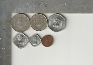 India Qty 6 Coin Lot dated 1961-1993 Vintage Rupee Paise 50 20 5 1 denominations