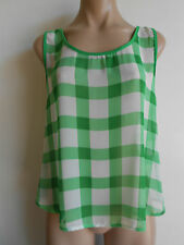 Size 12 Green White Check Ladder Back Sleeveless Top Semi Sheer NWOT