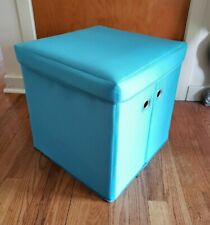"""Folding Storage Ottoman Bench-15"""" Cube Fabric Collapsible Coffee Table Footstool"""