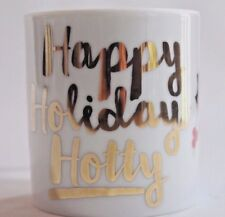 PAPERCHASE Happy Holidays Hotty WHITE Fine Porcelain MUG GOLD Holly 12 oz NIB