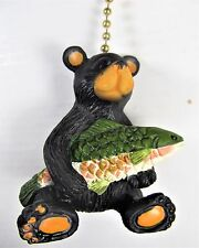 Black Bear holding a trout ceiling fan pull wildlife home decor