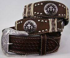 NOCONA western accessories raw hide cross concho DARK BROWN LEATHER BELT 46 NWT!
