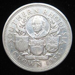SOUTHERN RHODESIA 1 CROWN 1953 SILVER BRITISH QEII ZIMBABWE 20# WORLD MONEY COIN