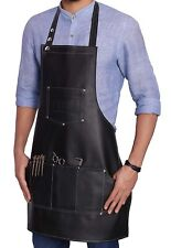 Professional Artificial Leather Apron Women/Men Barber Waterproof Multiuse black