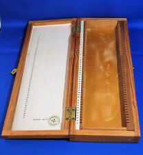 An antique wooden (pine) microscope slide case for 50 slides, by Gerrard, London