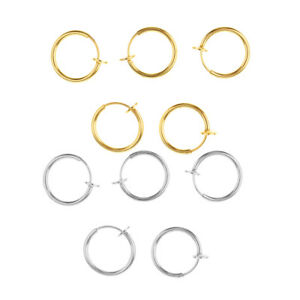 10pcs/Pack Alloy Metal Clip on Closure Round Ring Fake Nose Lip Helix Loops