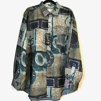 Goouch Mens New Defect Floral Long Sleeve Button Up Silk Linen Shirt Top Size XL