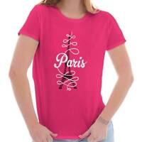 8826a636d Paris Eiffel Tower French Parisian Romantic City Gift Ladies Tee Shirt T