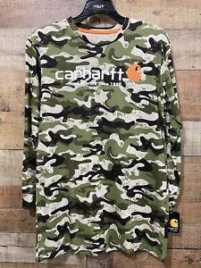 Carhartt Boys Camo Size Large 14/16 T-Shirt Long Sleeve Cotton Tee New