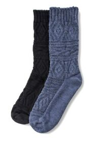 No Nonsense 2 Pair Knit Boot Socks Size 4-10 Midcalf Diamond Pattern Blue Black