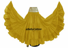 Yellow Cotton Gypsy Skirt 25 Yard 4 Tiered Tribal Belly Dance Flamenco Jupe New