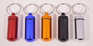 Waterproof Aluminum Medicine Pill Container Case Key Chain Holder Ring 5 Colors