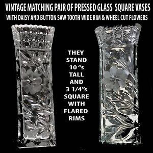 """MATCHING PAIR OF VINTAGE PRESSED GLASS SQUARE 10"""" VASES WITH WHEEL CUT FLOWERS"""
