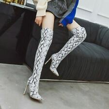 Women Snakeskin Over Knee High Boots Pointed Toe Snake Heel Boots Shoes Size3-16