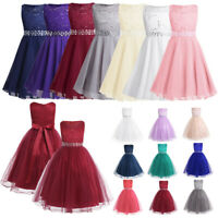 Lace Sequins Princess Dress Flower Girl Party Wedding Bridesmaid Kids Tutu Dress